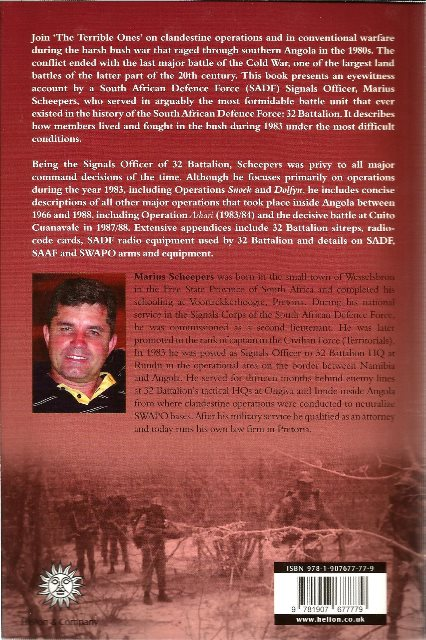 Back cover of Striking Inside Angola with 32 Battalion by Marius Scheepers