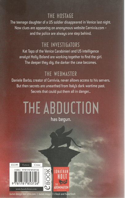 Back cover of The Abduction by Jonathan Holt