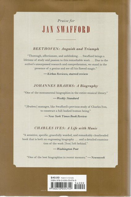 Back cover of Beethoven by Jan Swafford
