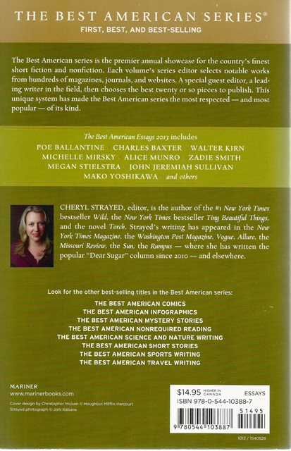 Back cover of The Best American Essays 2013 by Cheryl Strayed