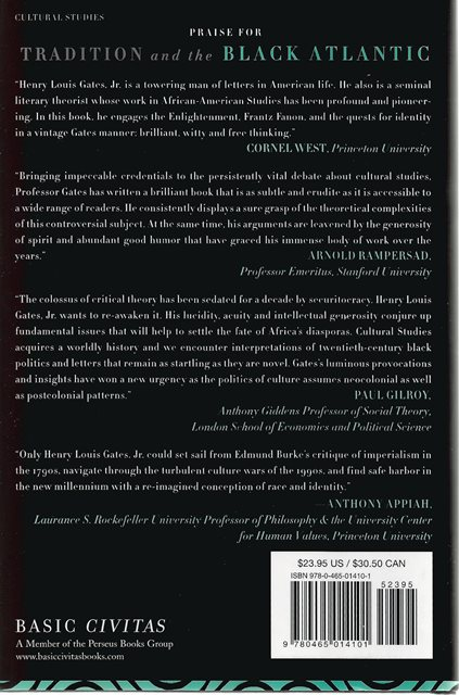 Back cover of Tradition and the Black Atlantic by Henry Louis Gates Jr