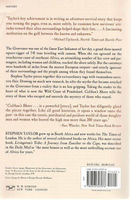 Back cover of Caliban's Shore by Stephen Taylor
