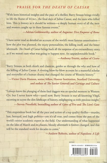 Back cover of The Death of Caesar by Barry Strauss