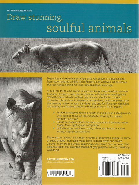 Back cover of Draw Realistic Animals by Robert Louis Caldwell