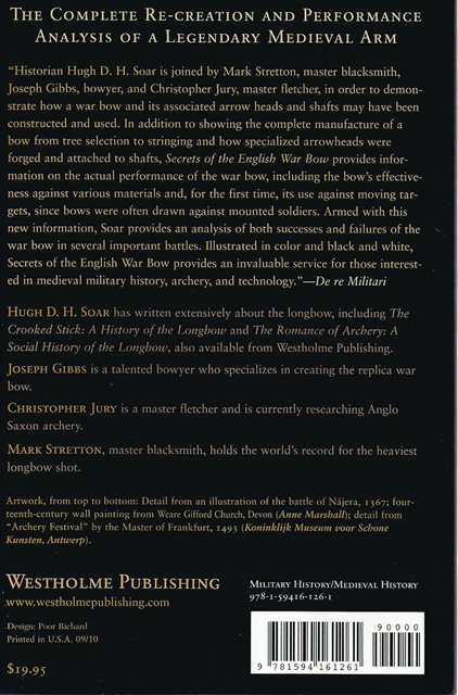 Back cover of Secrets of the English War Bow by Hugh D H Soar