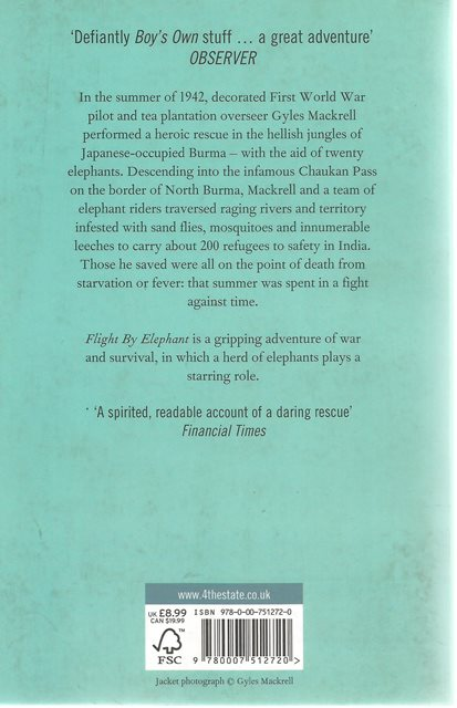 Back cover of Flight by Elephant by Andrew Martin