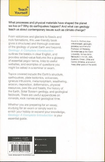 Back cover of Teach Yourself Geology by David A Rothery
