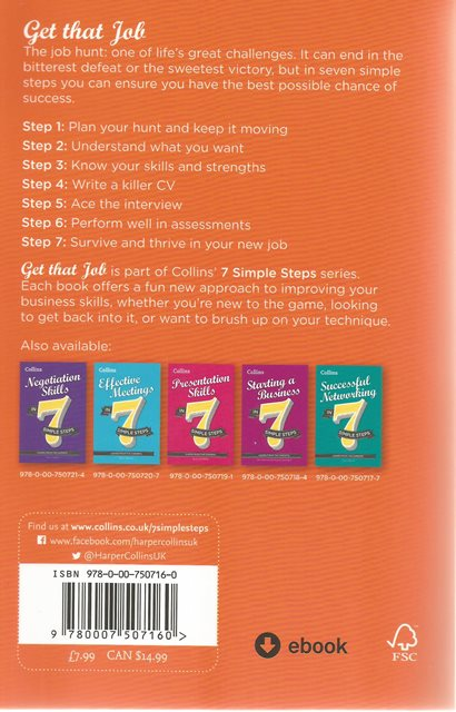 Back cover of Get That Job in 7 Simple Steps by Peter Storr
