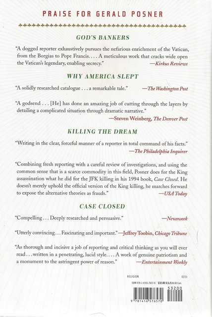 Back cover of God's Bankers by Gerald Posner