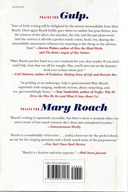 Back cover of Gulp. by Mary Roach