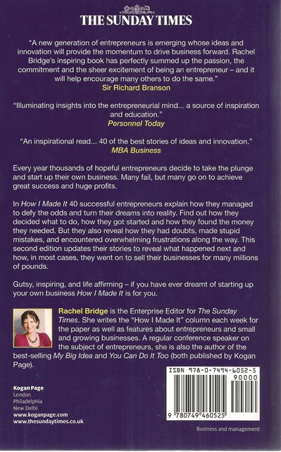 Back Cover of How I Made It by Rachel Bridge