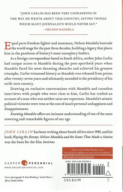 Back cover of Knowing Mandela by John Carlin