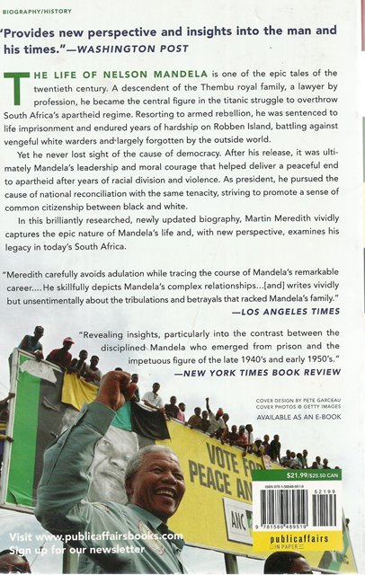 Back cover of Mandela by Martin Meredith