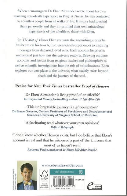 Back cover of The Map of Heaven by Dr Eben Alexander