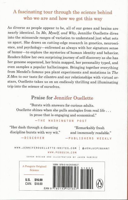 Back cover of Me, Myself, and Why by Jennifer Ouellette