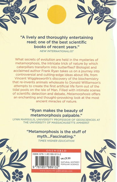 Back Cover of Metamorphosis by Frank Ryan