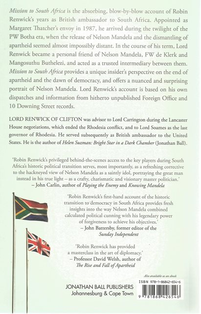 Back cover of Mission to South Africa by Robin Renwick