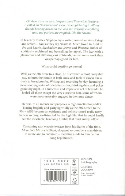 Back Cover of More Fool Me by Stephen Fry