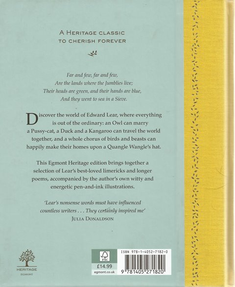 Back cover of A Selection of Nonsense Verse by Edward Lear