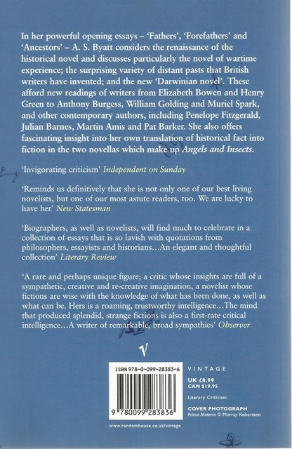 Back cover of On Histories and Stories by A S Byatt