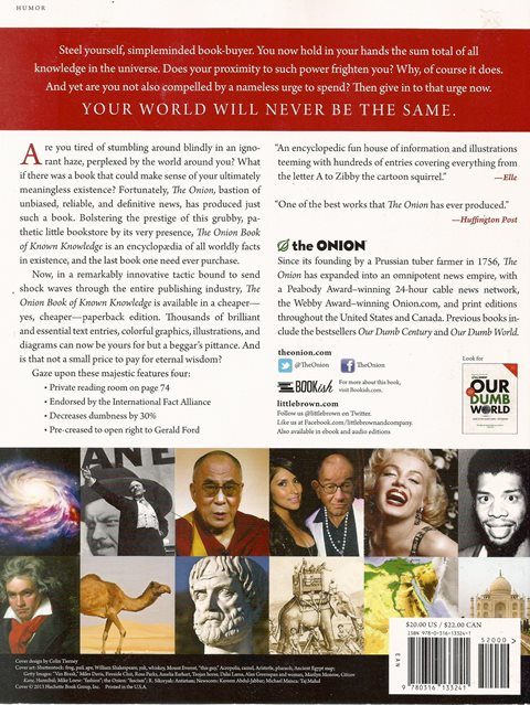 Back cover of The Onion Book of Known Knowledge by The Onion