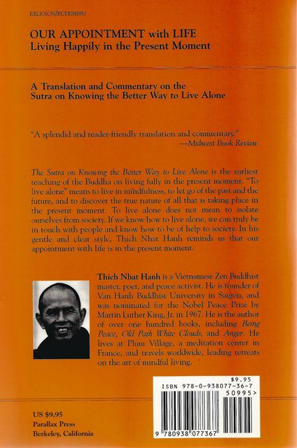Back cover of Our Appointment With Life by Thich Nhat Hanh