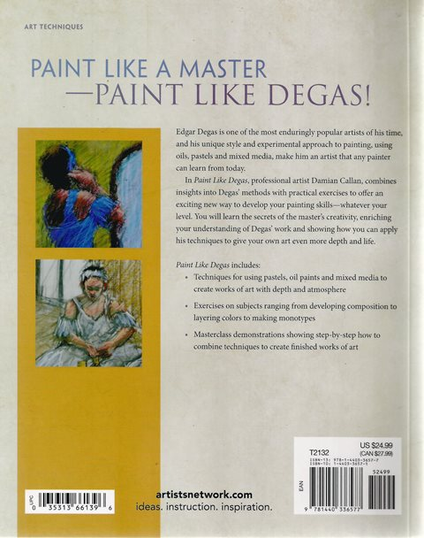 Back cover of Paint Like Degas by Damian Callan
