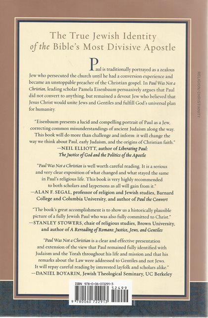 Back cover of Paul Was Not a Christian by Pamela Eisenbaum