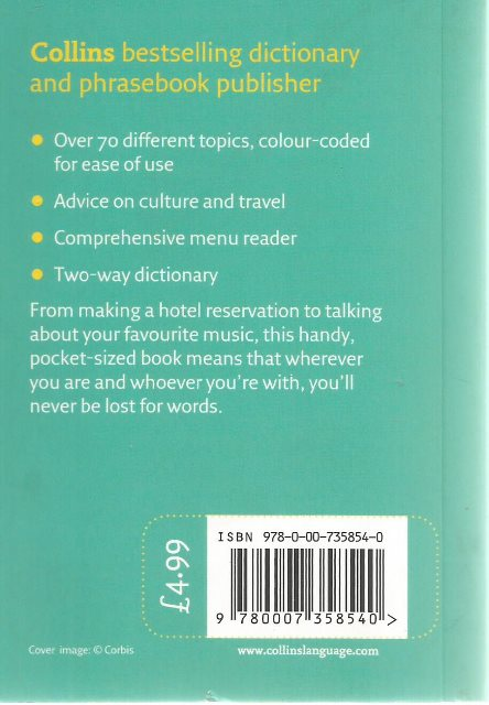 Back cover of Collins Portuguese Phrasebook and Dictionary
