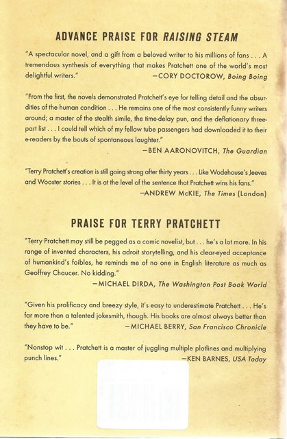 Back cover of Raising Steam by Terry Pratchett