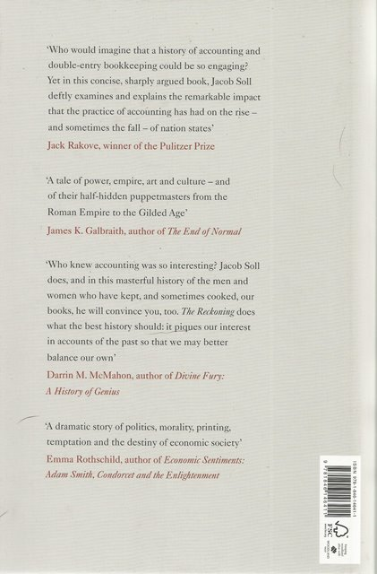 Back cover of The Reckoning by Jacob Soll