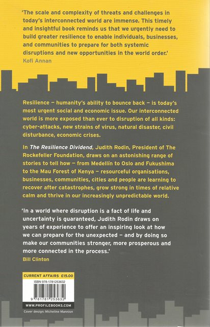 Back cover of The Resilience Dividend by Judith Rodin