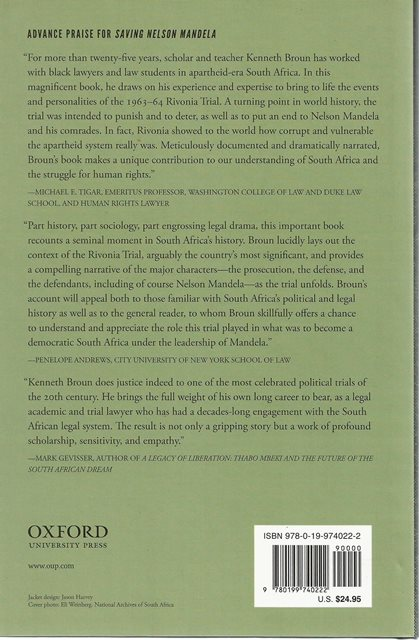 Back cover of Saving Nelson Mandela by Kenneth S Broun
