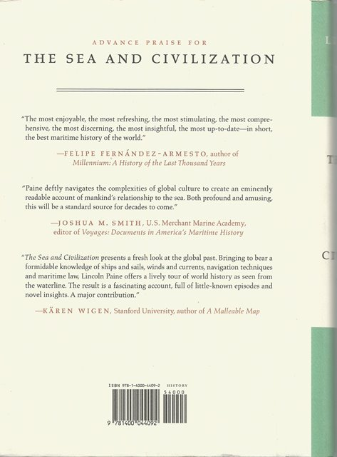 Back cover of The Sea & Civilization by Lincoln Paine