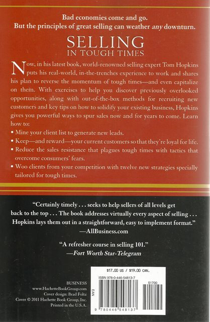 Back cover of Selling in Tough Times by Tom Hopkins