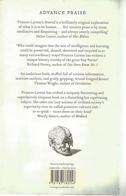 Back cover of Severed by Frances Larson