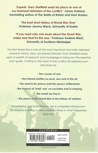 Back cover of A Short History of the first World War by Gary Sheffield