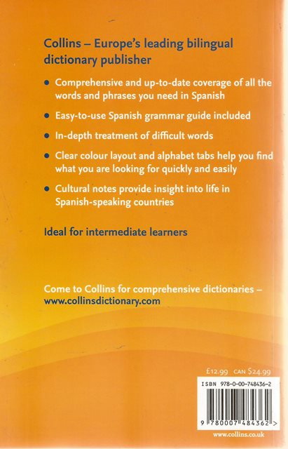 Back cover of Collins Spanish Phrasebook and Dictionary