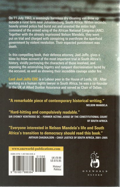 Back cover of The State vs. Nelson Mandela by Joel Joffe