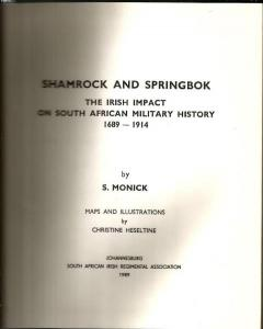 Title page of Shamrock And Springbok by S. Monick