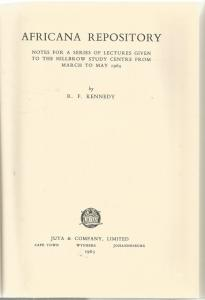 Title page of Africana Repository by R F Kennedy
