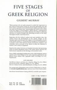 Back Cover of Five Stages of Greek Religion by Gilbert Murray