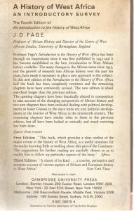Back Cover of A History of West Africa by J D Fage