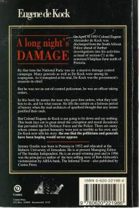 Back Cover of A Long Night's Damage by Eugene de Kock