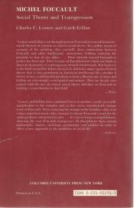 Back cover of Michel Foucault by Charles C Lemert and Garth Gillan