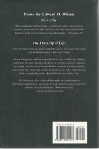 Back Cover of Naturalist by Edward O Wilson