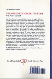 Back Cover of The Origins of Greek Thought by Jean-Pierre Vernant