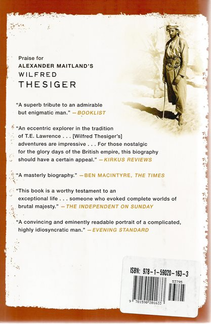 Back cover of Wilfred Thesiger by Alexander Maitland