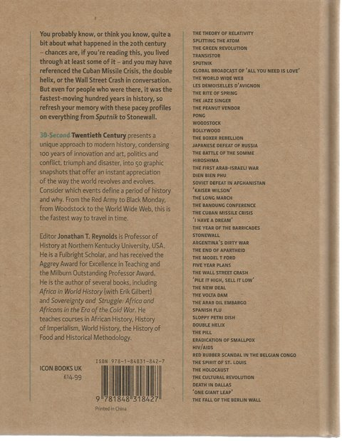 Back Cover of 30-Second Twentieth Century edited by Jonathan T Reynolds