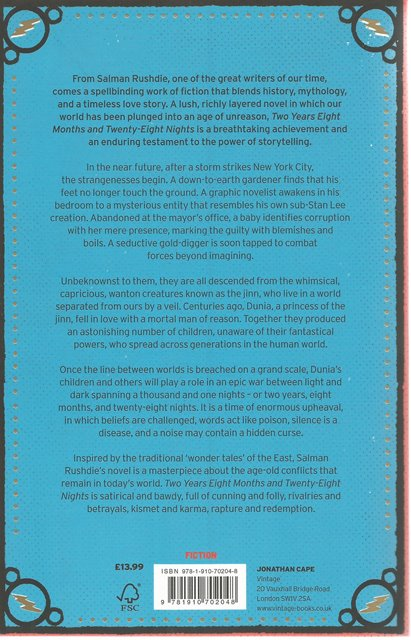 Back Cover of Two Years Eight Months & Twenty-Eight Nights by Salman Rushdie